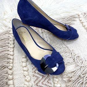 Butter Italian Blue Suede Low Wedge Mod Heel